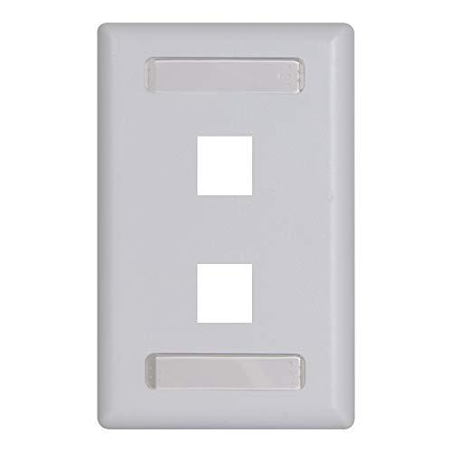 Icc Station Id Faceplate With 2 Ports For Ez/Hd Style In Single Gang, White