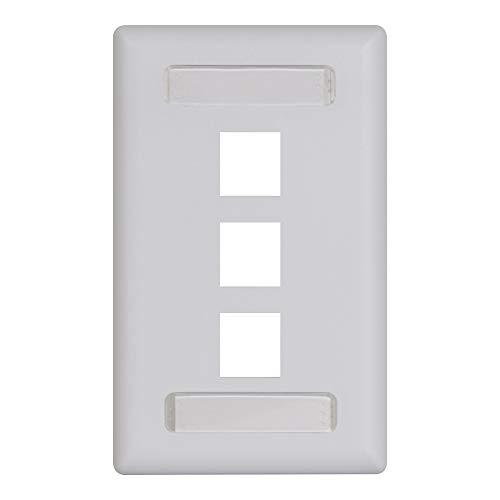 Icc Station Id Faceplate With 3 Ports For Ez/Hd Style In Single Gang, White