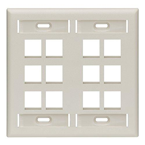Leviton 42080-12T Quickport Wallplate With Id Window, Dual Gang, 12-Port, Light Almond
