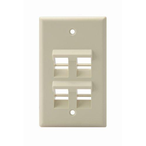 Leviton 41081-4Ip Angled Quickport Wallplate 4-Port, Single Gang, pale