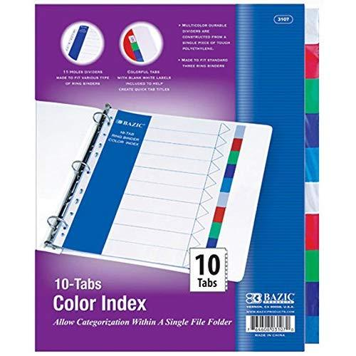 Bazic 3 Ring Binder Tabs With 10 Dividers, 9.5 X 0.1 X 12.3 Inches, Multi-Color Tabs, (1 Set), (3107)