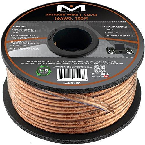 Mediabridge 16Awg 2-Conductor Speaker Wire (100 Feet, Clear) - Spooled Design With Sequential Foot Markings (Part# Sw-16X2-100-Cl)