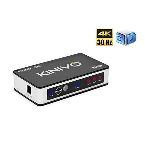 Kinivo 301Bn 4K Hdmi Switch With Ir Wireless Remote (3 Port, 4K 30Hz, Auto-Switching)
