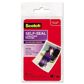 Scotch Pl903G Self-Sealing Laminating Pouches, Glossy, 2 13/16 X 3 3/4, Wallet Size, 5/Pack