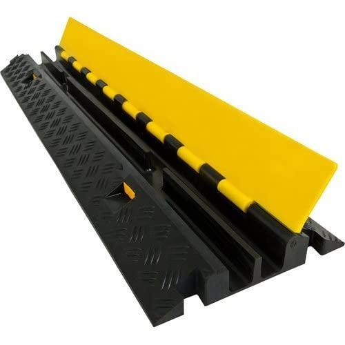 Electriduct Heavy Duty 2 Channel Cable Protector Traffic Wire And Hose Ramp 1.2 Inch Channels 12,000 Lbs Per Axle - Rubber Black Base/Yellow Lid