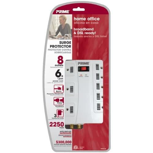 Prime Wire & Cable Pb504120 8-Outlet 5+3 2250J With Rj11, Coax And 6-Foot Cord, White