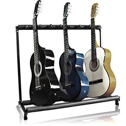 Best Choice Products 7-Guitar Folding Storage Stand Rack For Acoustic, Bass, Electric Guitars W/Padded Foam Rails
