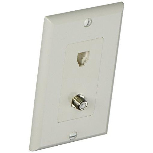 Morris 80181 Decorative Single Rj11 4 Conductor Phone Jack And Single F Connector Wall Plate, 2 Piece, White