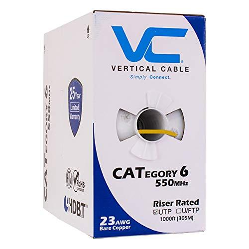 Vertical Cable Cat6, 550 Mhz, Utp, 23Awg, Solid Bare Copper, 1000Ft, Yellow, Bulk Ethernet Cable - 060 Series