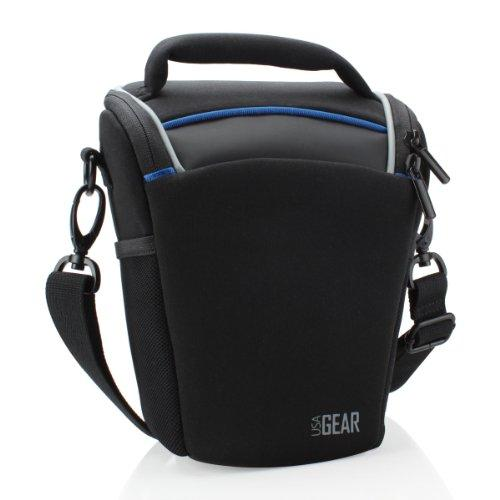 Usa Gear Slr Camera Case Bag (Black) With Top Loading Accessibility, Adjustable Shoulder Sling, Padded Handle, Weather Resistant Bottom - Comfortable, Durable And Light Weight For Travel