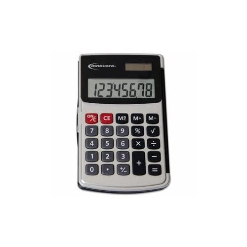 Innovera Products - Innovera - Handheld Calculator, Hard Flip Case, Eight-Digit, Dual Power, Silver - Sold As 1 Each - Convenient Handheld Calculator With Protective Hard Case. - Impossible To Lose Hard Case Flips Away When In Use. - Large 8 Digit Display