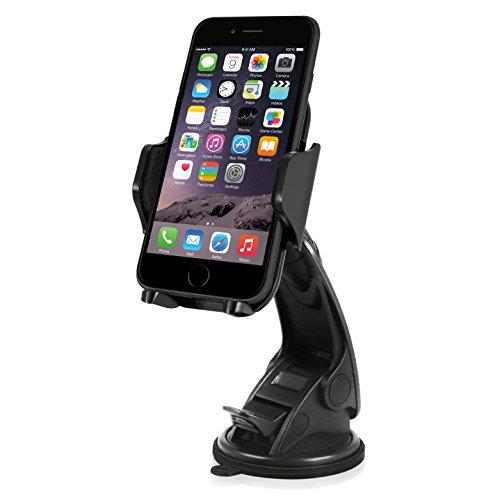 Macally Windshield Phone Mount, Adjustable Suction Cup Window Mount Phone Holder For Iphone Xs Xs Max Xr X 8 Plus 7+ 6S 6 Plus Se Samsung Galaxy Note9 S9 S9+ S8 Note 5 Nexus Xperia Moto Smartphones