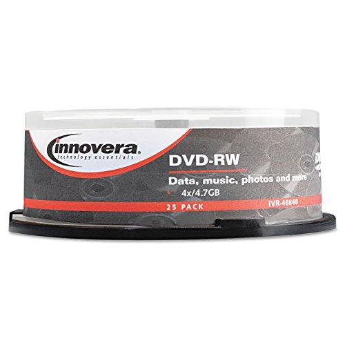Innovera 46848 Dvd-Rw Discs, 4.7Gb, 4X, Spindle, Silver, 25/Pack