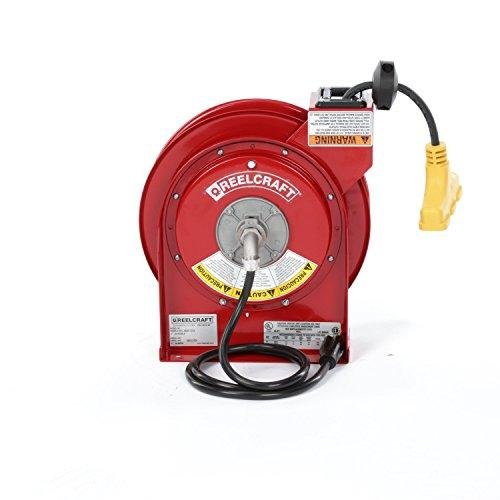 Reelcraft L 4545 123 9 Heavy Duty Power Cord Reel, 12 Awg/3 Conductors X 45', 15 Amp, Tri-Tap Outlet, Cord Included