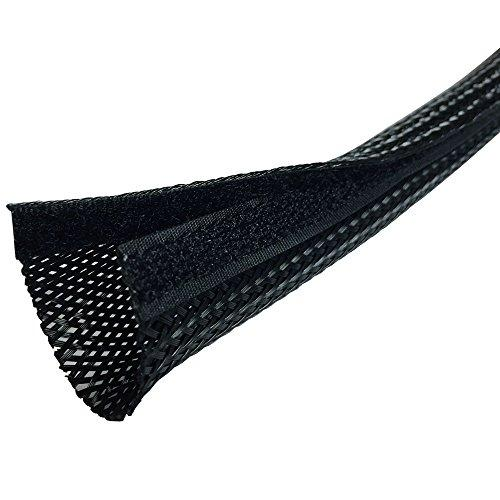 """Electriduct 1.25"""" Side Entry Cable Wrap Braided Sleeving With Hook & Loop Fastener - 25 Feet (Black)"""