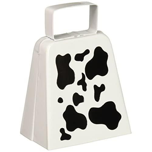 Beistle 60946 Cow Print Cowbell, 4-Inch, White/Black
