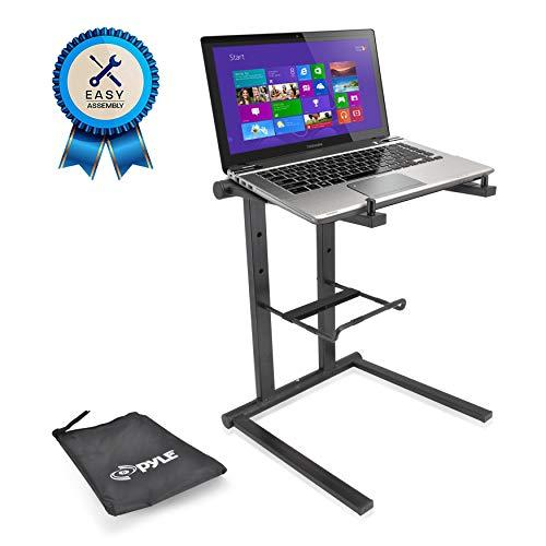 Pyle Portable Folding Laptop Stand - Standing Table With Foldable Height And Secondary Accessory Tray For Ipad, tab, Dj Mixer, Workstation, Gaming And Home Use With Bag - Plpts35