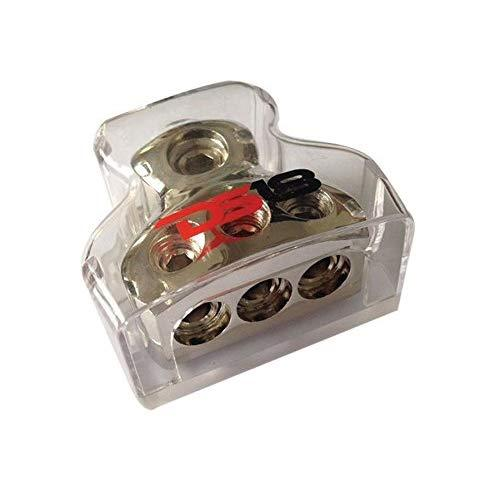 Ds18 Db1034 Distribution Ground Block - 1 X 0Ga In/ 3 X 4Ga Out, Nickle Plated Internal Material, High-Strength Heat Resistant Plastic Housing, Oversized Set Screws For Secure Connections (1 In 3 Out)