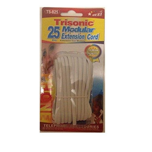 Trisonic Telephone Phone Extension Cord Cable Line Wire, 25', White