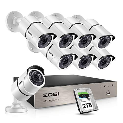 Zosi 8Ch 1080P Security Camera System With 2Tb Hard Drive H.265+ 8Ch Full 1080P Hd Video Dvr Recorder With 8Pcs Hd 1920Tvl 1080P Indoor Outdoor Home Surveillance Cameras With 120Ft Long Night Vision