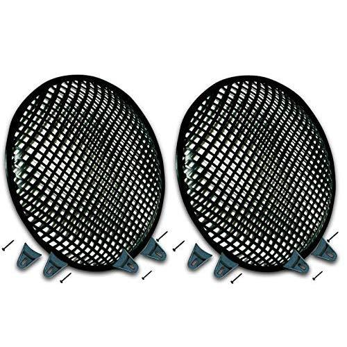 """Pair Of 10 Inch 10"""" Universal Metal Car Audio Speaker Subwoofer Waffle Grill Protector Cover With Clips And Screws"""
