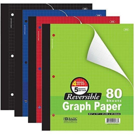 """Bazic 4/5 Reversible Graph Paper, 8"""" 1/2 X 11"""", 80 Sheets (Assorted Colors)"""