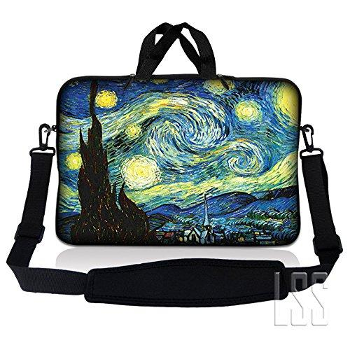 Lss 15.6 Inch Laptop Sleeve Bag Compatible With Acer, Asus, Dell, Hp, Sony, Macbook And More   Carrying Case Pouch W/ Handle &Amp; Adjustable Shoulder Strap, Starry Night