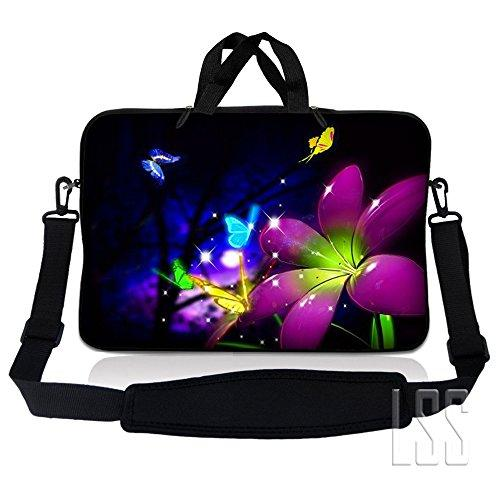 Lss 15.6 Inch Laptop Sleeve Bag Compatible With Acer, Asus, Dell, Hp, Sony, Macbook And More | Carrying Case Pouch W/ Handle & Adjustable Shoulder Strap, Purple Blue Floral