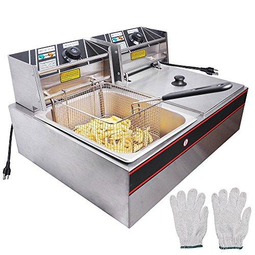 Wechef 12L 5000W Stainless Steel Electric Countertop Deep Fryer Dual Tank Basket For Commercial Restaurant