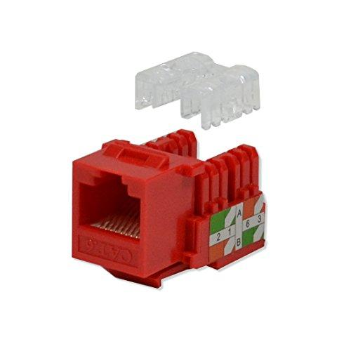 Logico 10 Pack Lot Keystone Jack Cat6 Red Network Ethernet 110 Punchdown 8P8C