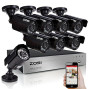 Zosi 8Ch 1080P Security Camera System,H.265+ 8Ch 5Mp Lite Hd-Tvi Video Dvr Recorder And 8 X 1080P 1920Tvl Indoor Outdoor Weatherproof Cctv Cameras,80Ft Night Vision,Motion Alert,Remote Access,No Hdd