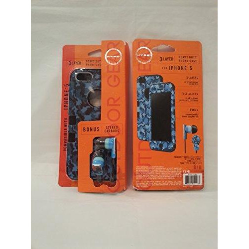 Hype Outdoor Gear 3 Layer Heavy Duty Case For Iphone 5 W/Bonus Stereo Earbuds (Blue)