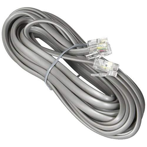 Premium Telephone Line Cord Heavy Duty Silver Satin 4 Conductor 14-Ft By Teledirect