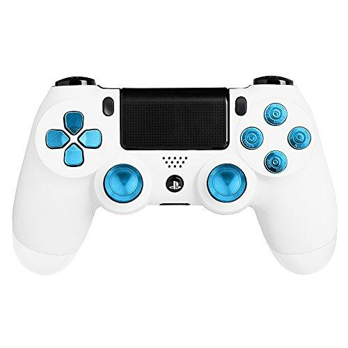 Xfuny(Tm) Metal Bullet Buttons Abxy Buttons + Thumbsticks Thumb Grip And Chrome D-Pad For Sony Ps4 Dualshock 4 Controller Mod Kit (Blue)