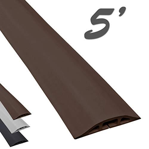 Electriduct D-2 Low Profile Rubber Duct Cord Cover Floor Cable Protector - 5 Feet - Brown (Raw Rubber Material)