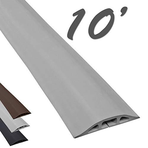 Electriduct D-2 Low Profile Rubber Duct Cord Cover Floor Cable Protector - 10 Feet - Gray (Raw Rubber Material)