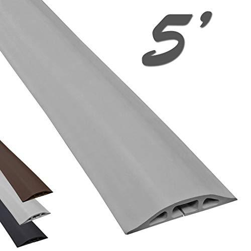 Electriduct D-2 Low Profile Rubber Duct Cord Cover Floor Cable Protector - 5 Feet - Gray (Raw Rubber Material)