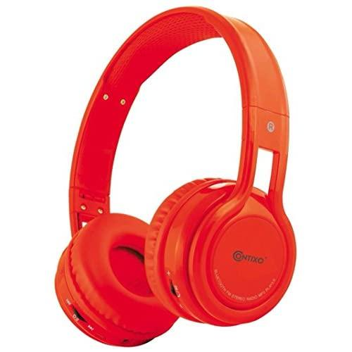 Contixo Kb-2600 Kids Bluetooth Wireless Headphones | 85Db Volume Limiter Limiting, Built-In Microphone Includes Aux Wired Audio Cable Kid Safe For Boys Girls (Red)