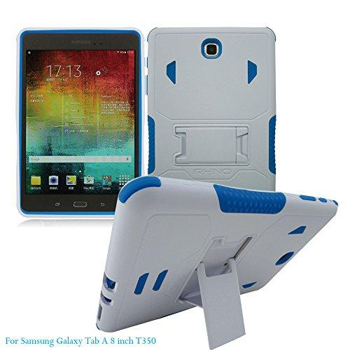 [Irhino] Tm For Samsung Galaxy Tab A 8 Inch T350 Tablet Case Cover White Blue Heavy Duty Rugged Impact Dual Layer Hybrid Case Cover With Build In Kickstand Protective Case Cover