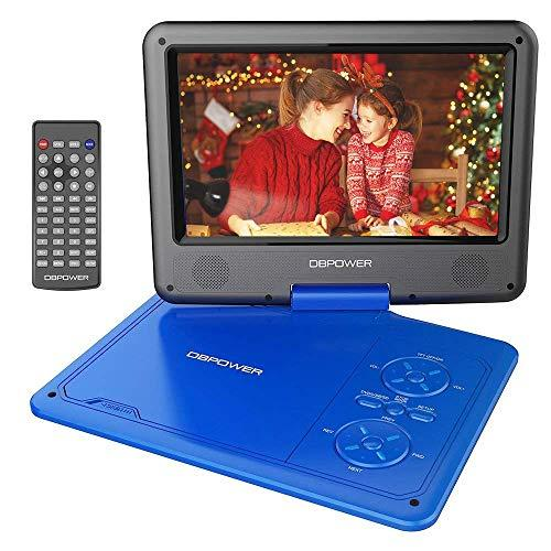 """Dbpower 11.5"""" Portable Dvd Player With 9.5"""" Swivel Screen, 5-Hour Built-In Rechargeable Battery, Support Cd/Dvd/Sd Card/Usb, With Car Charger And Power Adaptor, Blue"""