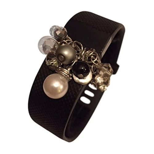 """Fitband Fun '""""Dangle Charm"""" Fitness Band Accessory (Fitbit Charge/Charge Hr/Charge 2, Black/White/Silver)"""