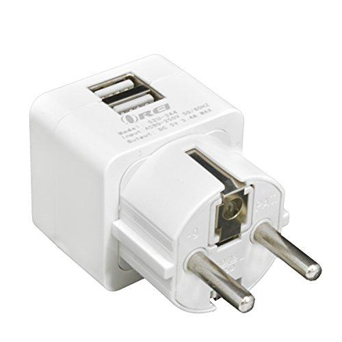 Orei 3.4A 2 Usb Schuko Travel Adapter Plug With For Grounded Type E/F Germany, France & More For Iphone/Ipad, Galaxy & More