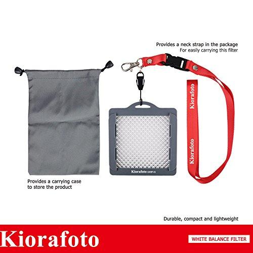 """Kiorafoto 3""""X3"""" Easy Carry Professional Camera White Balance Color Correction Filter Color Temperature Calibration Tool With Neck Strap String For Lens Up To 82Mm, As Grey Card/White Balance Card"""