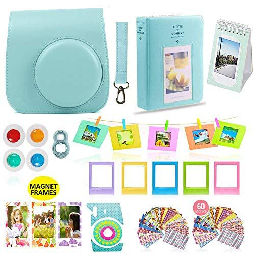 Fujifilm Instax Mini 9 Or Mini 8 Instant Camera Accessories Bundle 11 Piece Gift Set Kit Includes Blue Case With Strap, Albums, Filters, Selfie Lens, Hanging + Creative Frames, 60 Stickers &Amp; More