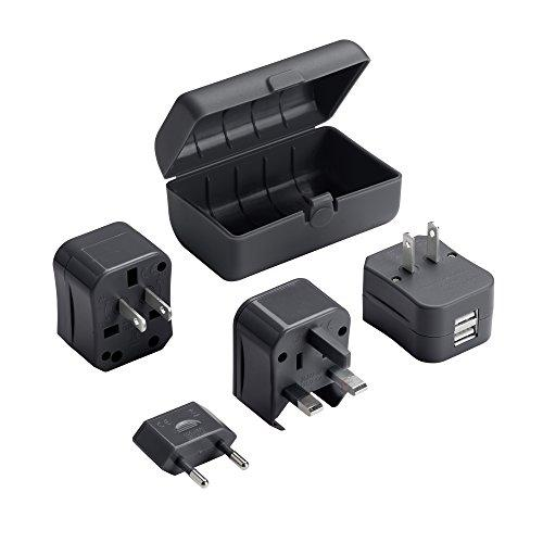 Lewis N. Clark Adapter Plug Kit W/ 2.1A Dual Usb Charger, Black