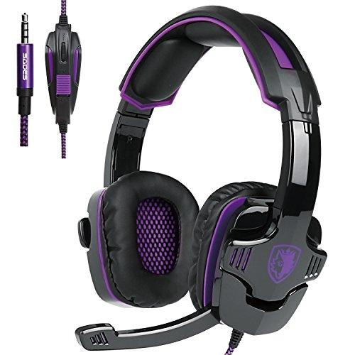 Updated Gaming Headphones,Sades Sa930 Wired 3.5Mm Stereo Sound Computer Gaming Headset With Microphone,Noise Isolating Volume Control For Pc/Mac/Ps4/Phone/Tablet(Black Purple)