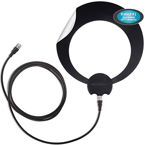 Antennas Direct Clearstream Eclipse Tv Antenna, 35+ Miles/55+ Km Range, Multi-Directional, Grips To Walls/Windows With Sure Grip Strip, 12 Ft. Rg-6 Cable, 4K Ready, Black Or White And Paintable - Ecl