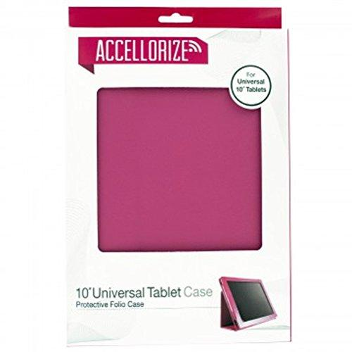 10-Inch Universal Premium Slim Fit Lightweight Folio Stand Cover Ipad Kindle Fire Android Tablet, Pink