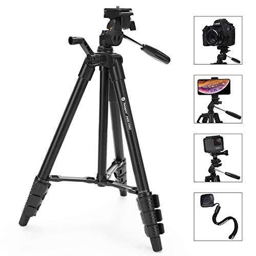 """Fotopro Camera Tripod, 48"""" Phone Tripod With 3-Way Head, Lightweight Aluminum Tripod For Iphone, Samsung, 1/4'' Screw Travel Tripod With Bluetooth Remote For Dslr Camera, Canon, Sony, Nikon"""