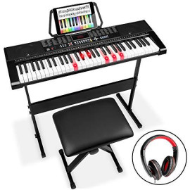 Best Choice Products 61-Key Beginners Electronic Keyboard Piano Set W/Led Screen, Lighted Keys, Recorder, 3 Teaching Modes, H-Stand, Stool, Headphones (Black)